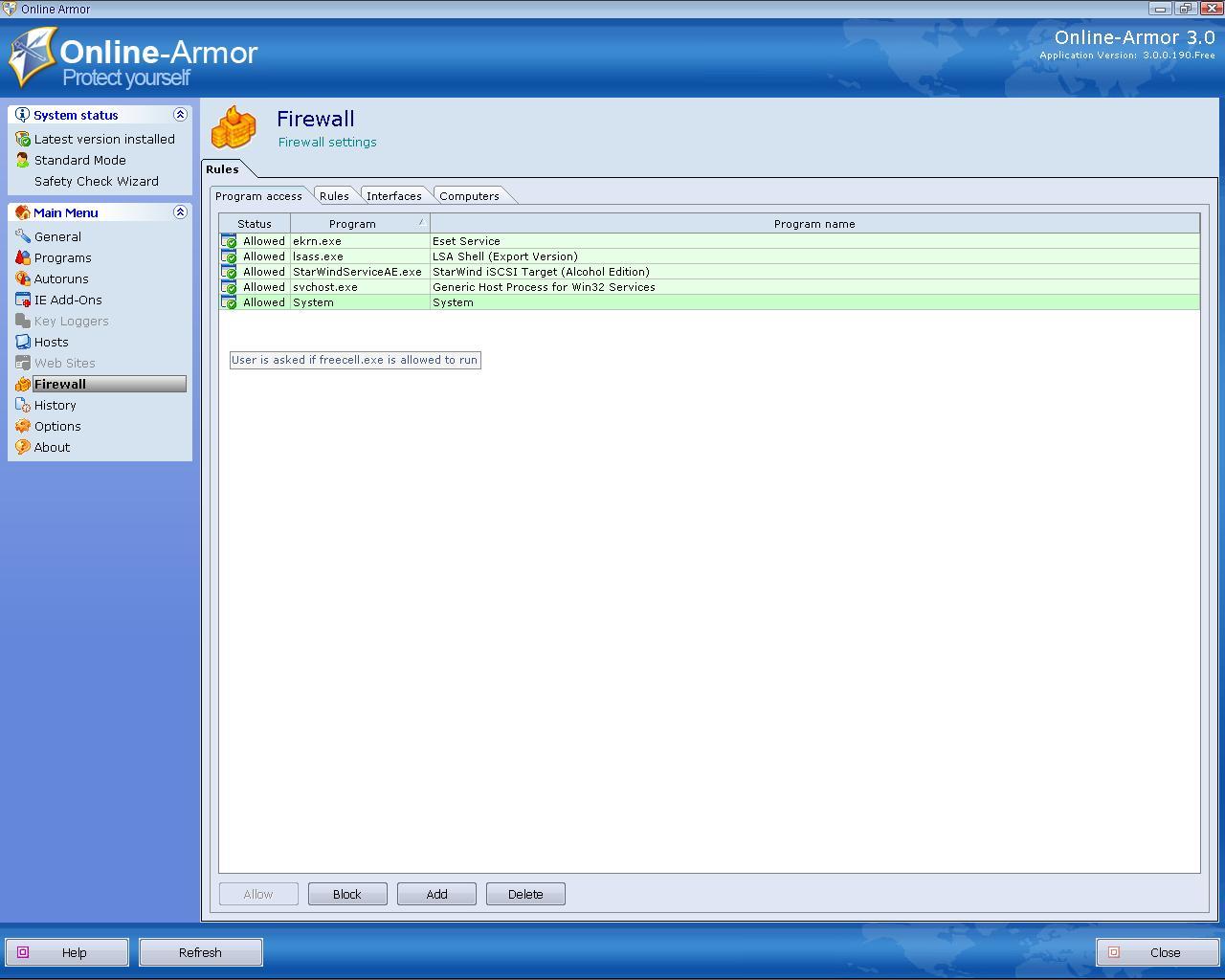 Online Armor Personal Firewall v.3.0.0.190 скачать бесплатно