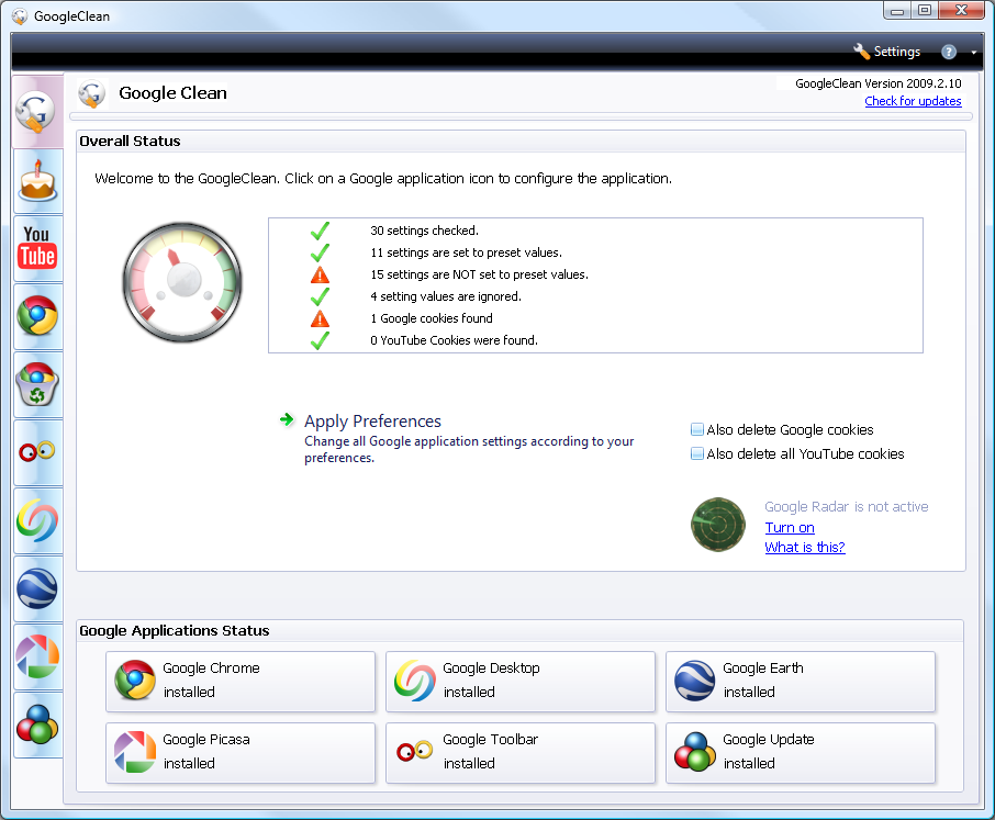 GoogleClean 3.6.108 Build 108 скачать бесплатно