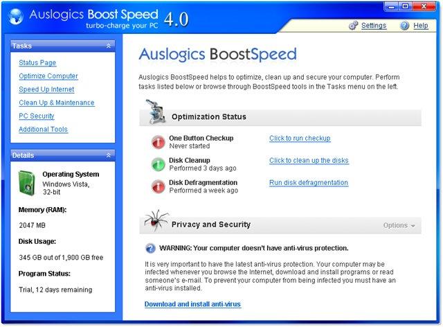 AusLogics BoostSpeed 5.0.1.190. Фотошоп на русском языке/Photoshp CS 8.0 r