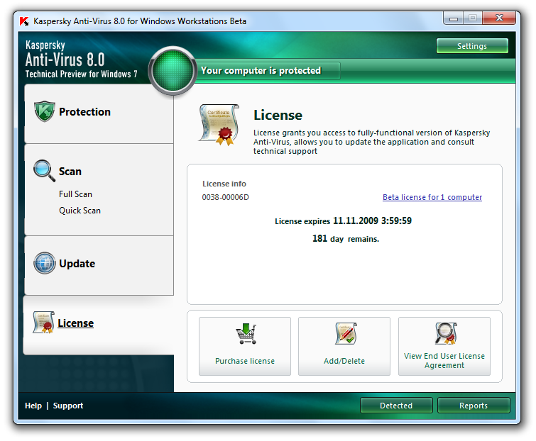 Kaspersky Internet Security 2009 Beta.