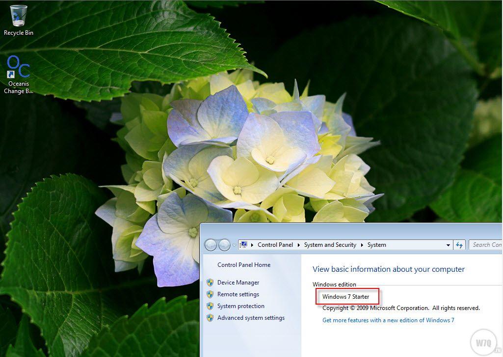 Windows 7 starter background oceanis