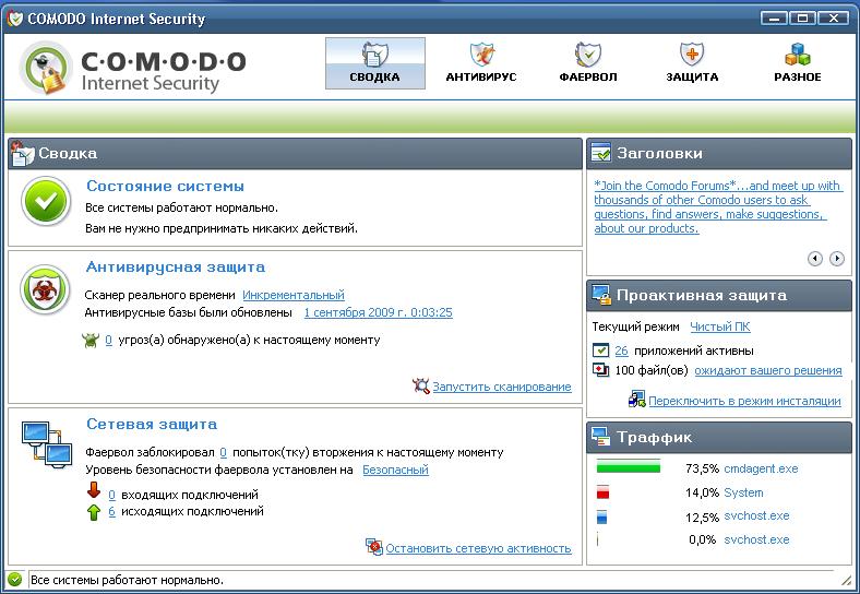Comodo Internet Security 3.13.120417.573 (64bit) скачать бесплатно
