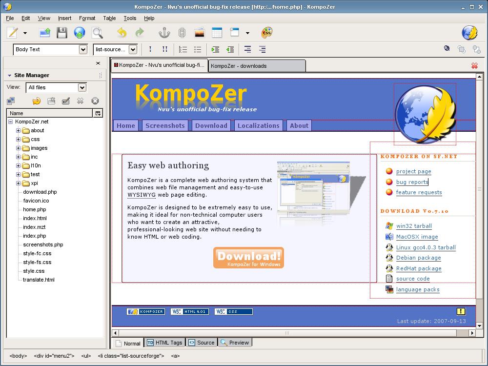 KompoZer (Сайт) - скачать бесплатно