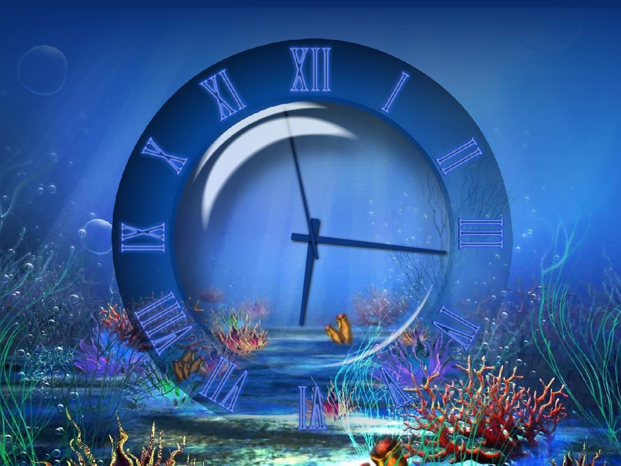 Заставка часы подводный мир скачать